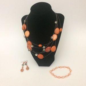 Jewelry - Three strand Orange Necklace lot